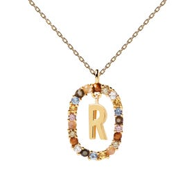 Gold Plated Floating Letter R Necklace