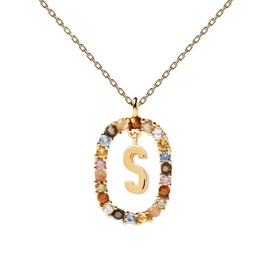 Gold Plated Floating Letter S Necklace
