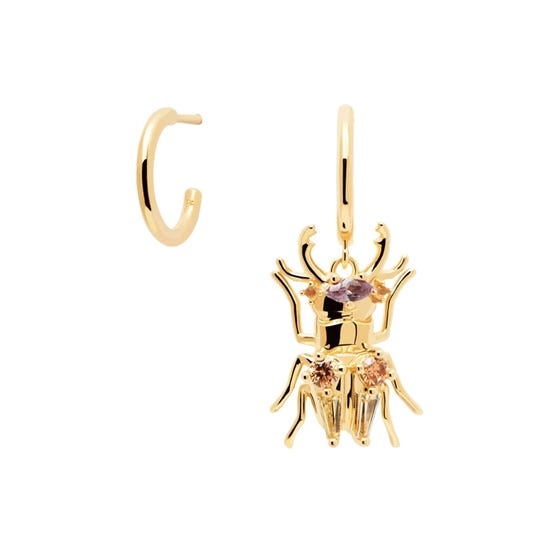 Gold Plated Strength Beetle Earrings