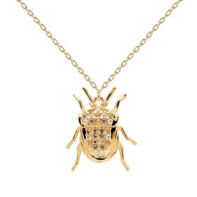 Gold Plated Luck Beetle Amulet Necklace