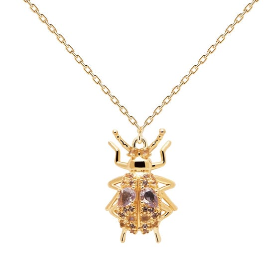 Gold Plated Wisdom Beetle Amulet Necklace