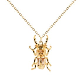 Gold Plated Courage Beetle Amulet Necklace