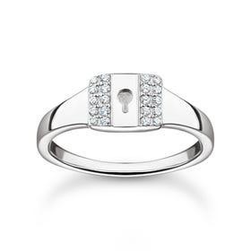 Silver Pave Padlock Ring