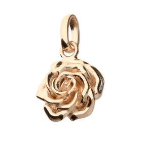 Rose Gold Plated Silver June Birth Flower Rose Pendant Charm