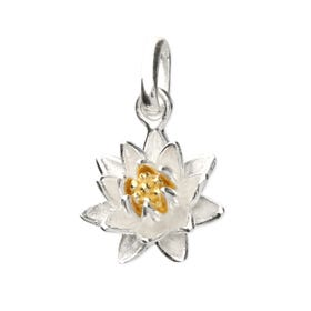 Silver July Birth Flower Water Lily Pendant Charm