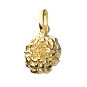 Gold Plated Silver October Birth Flower Marigold Pendant Charm