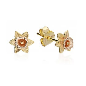 Gold Plated Silver March Birth Flower Daffodil Stud Earrings