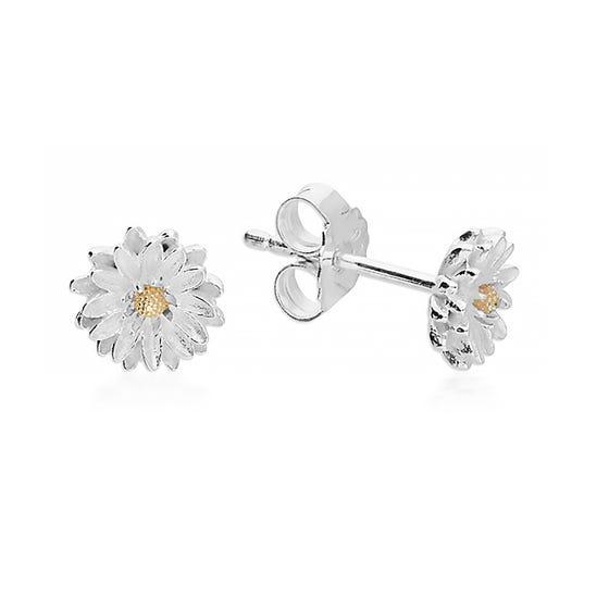 Silver September Birth Flower Aster Stud Earrings