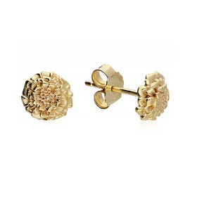 Gold Plated Silver October Birth Flower Marigold Stud Earrings