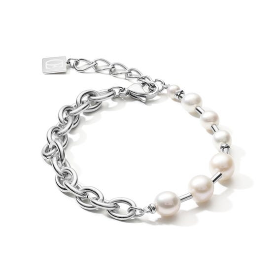 Elegance Pearl Bracelet Chain Link with Freshwater Pearls