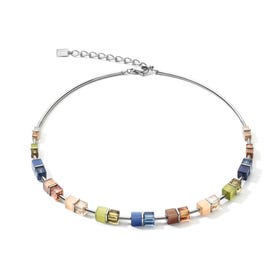 Graduated GEOCUBE Necklace Blue, Brown & Olive Green