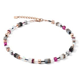 Classic GEOCUBE Necklace Rose Gold, Pink, White & Grey