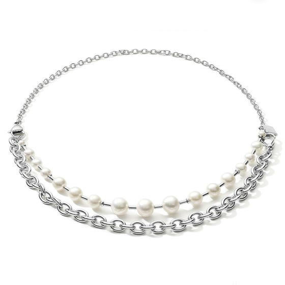 Elegance Pearl Multiway Necklace Chain Link with Freshwater Pearls