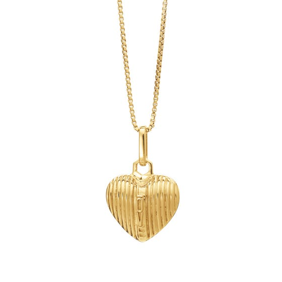 Gold Plated Deco Love Puffed Heart Necklace