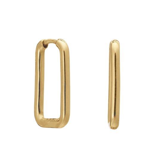 Gold Plated Oval Link Hoop Earrings
