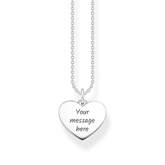 Silver Flat Polished Heart Necklace