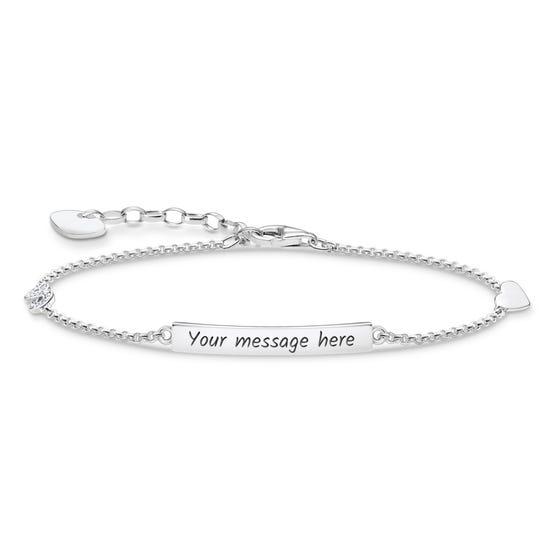 Silver Heart & Infinity Bar Bracelet