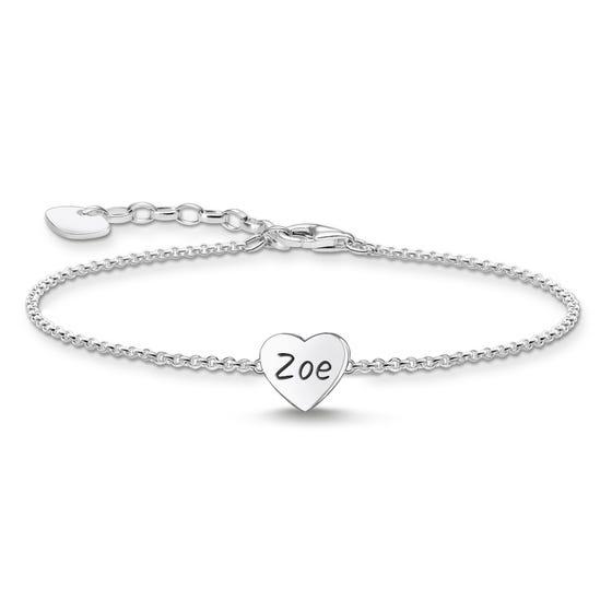 Silver Polished Heart Bracelet