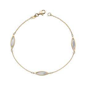 9ct Gold Mother of Pearl Navette Bracelet