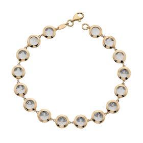 9ct Yellow & White Gold Diamond-Cut Tennis Bracelet