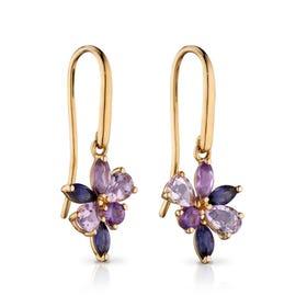 9ct Gold Amethyst & Iolite Marquise Teardrop Cluster Earrings