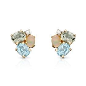 9ct Gold Opal, Blue Topaz & Green Amethyst Cluster Stud Earrings