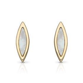 9ct Gold Mother of Pearl Navette Stud Earrings