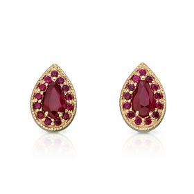 9ct Gold Ruby Pear Shaped Stud Earrings
