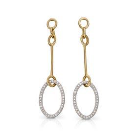 9ct Yellow & White Gold Diamond Oval Long Drop Earrings