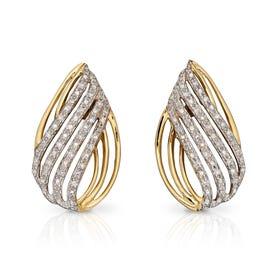 9ct Gold Diamond Teardrop Shaped Cut Out Earrings