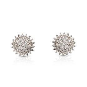 9ct Gold Diamond Cluster Urchin Stud Earrings