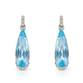 9ct White Gold Blue Topaz & Diamond Elongated Teardrop Earrings