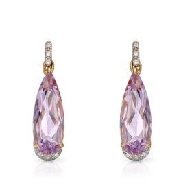 9ct Gold Pink Amethyst & Diamond Elongated Teardrop Earrings