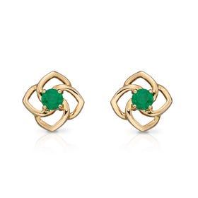 9ct Gold Emerald Flower Stud Earrings