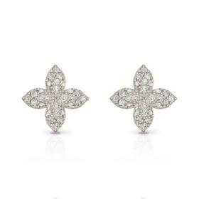 9ct Gold Diamond Puffed Flower Stud Earrings