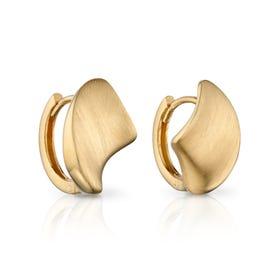 9ct Gold Concave Organic Huggie Hoop Earrings
