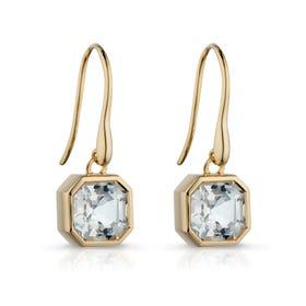 9ct Gold White Topaz Asscher-Cut Drop Earrings