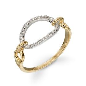 9ct Yellow & White Gold Diamond Oval Ring