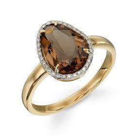 9ct Gold Smoky Quartz & Diamond Irregular Ring