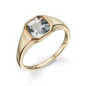 9ct Gold White Topaz Asscher-Cut Ring