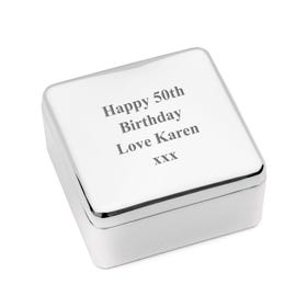 'Happy Birthday' Engraved Square Jewellery Box