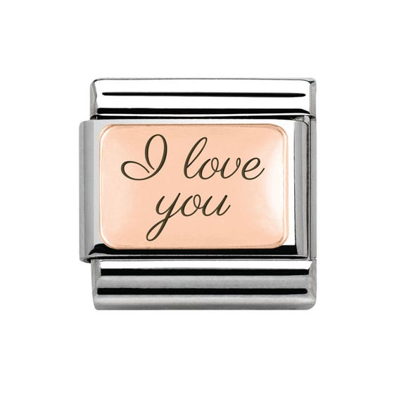 Classic Rose Gold Charm Engraved with I love you