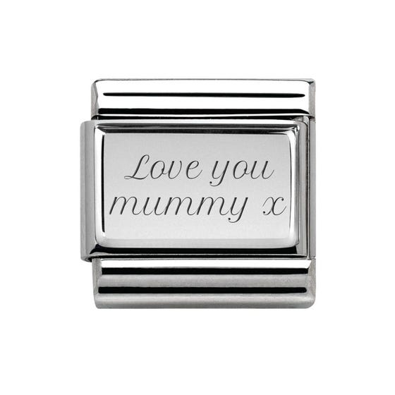 Classic Silver Charm Engraved with Love you Mummy x