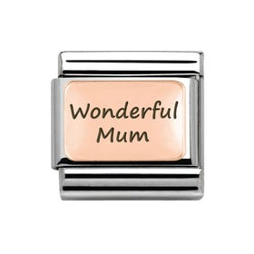 Classic Rose Gold Charm Engraved with Wonderful Mum