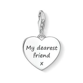 Heart Charm Engraved with 'My dearest friend x'