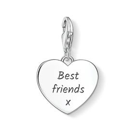 Heart Charm Engraved with 'Best friends x'