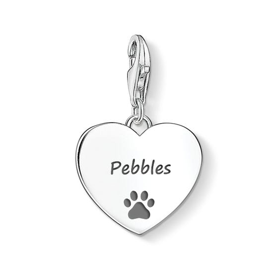 Heart Charm Engraved with Name & Pawprint