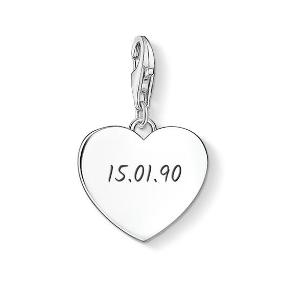 Heart Charm Engraved with Date