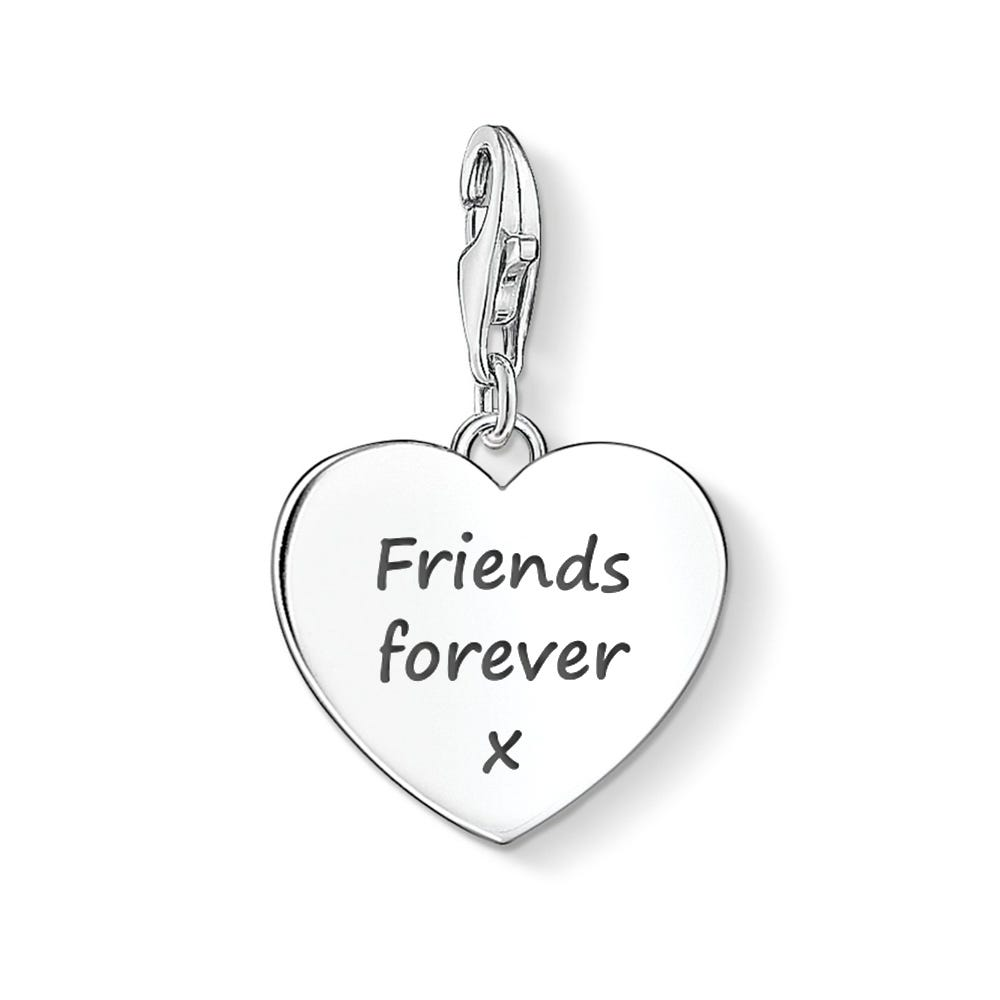 Glyph Etched Heart With Field Inside Small Tattoo: Thomas Sabo Heart Charm Engraved With 'Friends Forever X