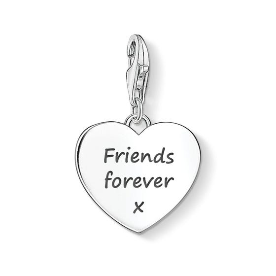 Heart Charm Engraved with 'Friends forever x'